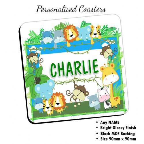 Personalised Jungle Animals Coaster N15 - Birthday, Christmas Fathers Day Gift - ANY NAME